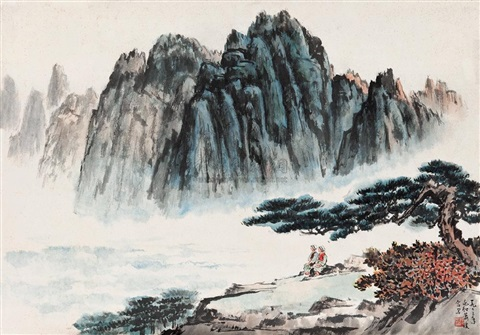 landscape by jiang zhaohe and xiao qiong