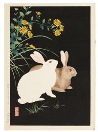 lapins brun et blanc (oban tate-e) by nishimura hodo