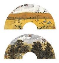 大漠古风·林中空地 镜片 设色纸本 (2 works) by xiao yingchuan