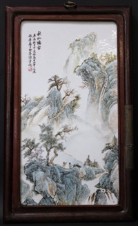 a chinese porcelain painting with hard wood frame, qing by anonymous-chinese (qing dynasty)