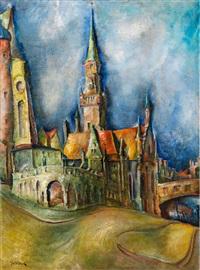 stadtansicht mit kirche by walter dean goldbeck