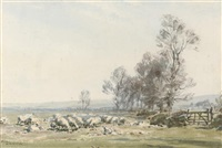 sheep grazing by a farm gate by arthur gerald ackermann