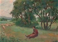 joven en un paisaje by joan llimona y bruguera