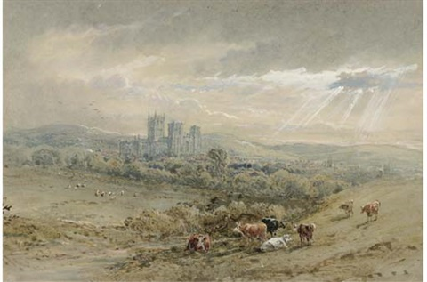 gloucester cathedral sunset from the birdlip escarpment 2 works by henry earp