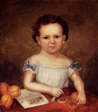 a little girl (daughter of the artist?) with sliced peaches and coloring book by francois fleischbein
