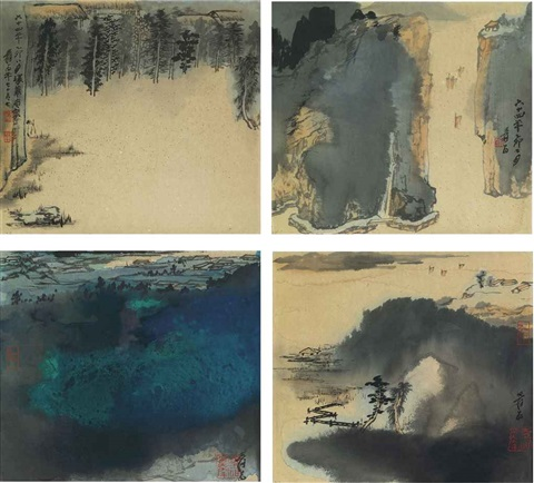landscape series set of 4 by zhang daqian