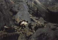 nach der hirschjagd im hochgebirge by wilhelm simmler