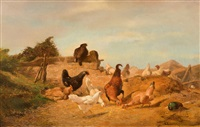 the poultry farm by théophile victor emile lemmens
