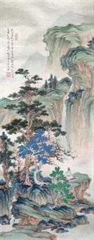 春山听瀑 by ren zhong
