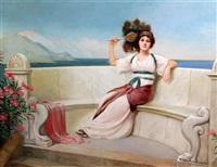 classical beauty on a terrace by harold h. piffard