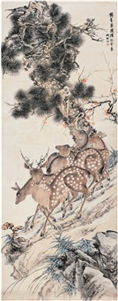 松鹿图 (pine tree and deers) by hu tiemei