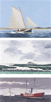 nantucket light boat; tuckerneck barn, nantucket; nantucket coast guard (3 works) by john austin