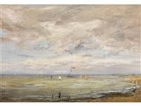 meeresufer mit hohem wolkenhimmel und segelschiffen by adrien le mayeur de merprés