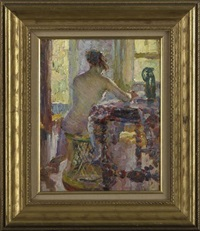 interior scene with a female nude seated at her writing desk by the window by howard logan hildebrandt