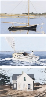 black sloop; catnip; white house, nantucket (3 works) by john austin