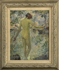 standing nude seen from the back stepping into a lagoon by howard logan hildebrandt