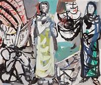 estudios para la decoración mural de la facultad de economía de barcelona y rostros (8 works) by jaume muxart domenech