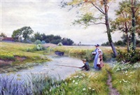boy angler and girls beside a river by walter follen bishop