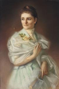 dreiviertelportrait einer dame im taftkleid mit perlenkette und blumen by käthe juncker-streit