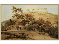 figures beneath a parasol, a monastery upon a hill beyond, probably in macao by george chinnery