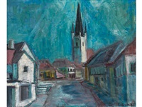 altstadtstrasse mit gotischem turm im hintergrund by viktor lederer