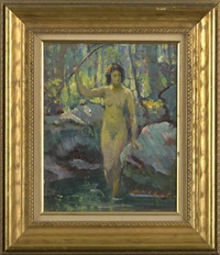 nude woman wading in a brook (+ pond study, verso) by howard logan hildebrandt