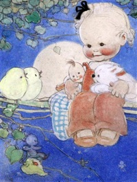 child and chicks seated on a branch by mabel lucie attwell