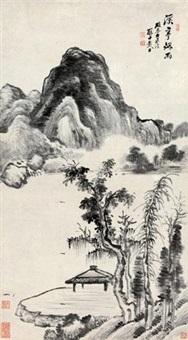 溪亭烟雨图 by dai xi