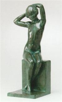 sittande naken flicka by william zadig