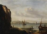 an der bretonischen küste. auf dem wasser segelboote in der abendsonne by isidore dagnan