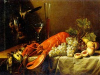 still life with a lobster, game, grapes, peaches, a wine glass and a glass flute, all resting on a draped table by pieter van overschee