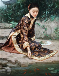 红鲤结伴来 (by the fish pond) by jiang changyi