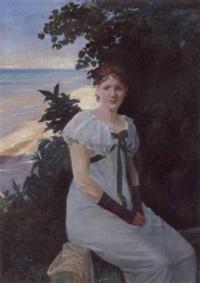 ung pige på en terasse ved havet by niels vinding dorph