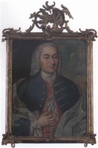 porträtt av herre klädd i blå rock samt röd broderad väst by j.p. lambert