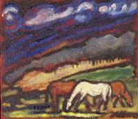 drei pferde auf der weide by luca albino