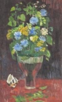 cikoriablommor - stilleben med blommor i glasvas by arthur percy