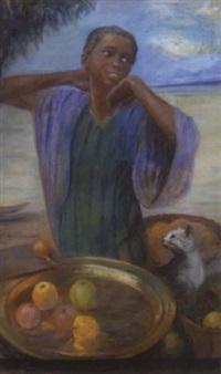 sydamerikansk pige med kat og frugter by felicitas dos santos