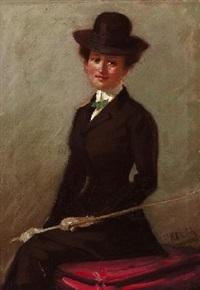 porträt einer dame in reitkostüm by friedrich klein-chevalier