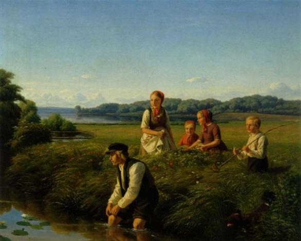 bondedreng, der plukker en åkende til sin kæreste på en dejlig sommerdag by jorgen (jeppe j.) sonne