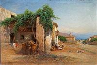 landsbysceneri fra sicilien by otto geleng