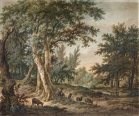 wooded landscape with shepherd by hendrik van de sande bakhuyzen