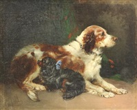 portrait of two spaniels, friendly companions by edward armfield
