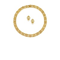 a necklace and pair of matching ear clips of geometric grid motif design (set of 2) by frederico buccellati