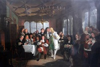 interior of will's coffee house, covent garden, with eminent 17th century figures by edward matthew ward