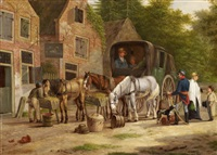the stage coach in front of the inn by anthony oberman