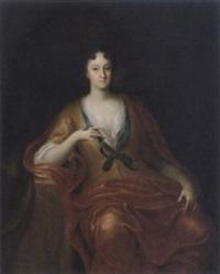 porträtt av sittande dam iförd gul klänning och röd sjal by gerard wigmana