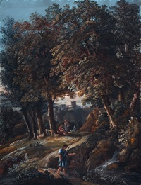südliche landschaft mit hirten und angler by karoly marko the elder
