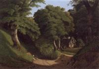 kuperet skovlandskab med stråtækt hus by georg sofus seligmann