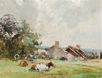 cattle grazing, mid-summer by archibald kay