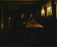 interior med læsende mand og strikkende kone by valdemar kornerup